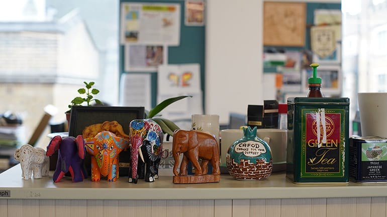 colourful carved elephants figurines and tea containers on display within Cafod office