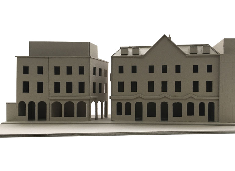 Model of the Flora pub and residential extension