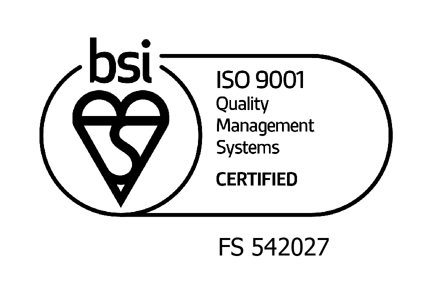 BSI ISO 9001 logo with BAL certificate numbers